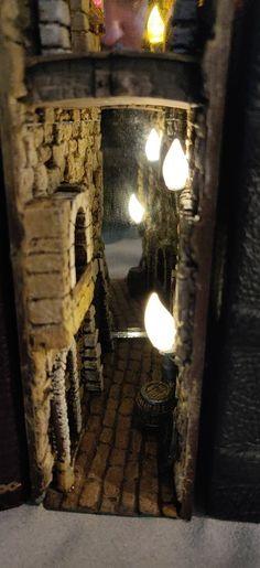 Fantasy Bookshelf Insert by qazaan - Top Of The World Banana Picture, Bookshelves, Bookshelf Ideas, Vitrine Miniature, Book Racks, Polymer Clay Miniatures, Fairy Doors, Painted Books, Fantasy