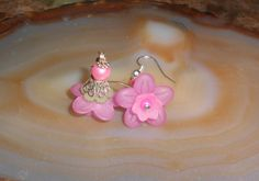 Handcrafted Lucite Flower Pierced Earrings by TrendyCharm on Etsy, $6.00
