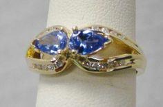 14k Yellow Gold Ring Genuine 90 Ct TW Tanzanite 1 5 Ct TW Diamonds 3 8g Sz 7 25 | eBay