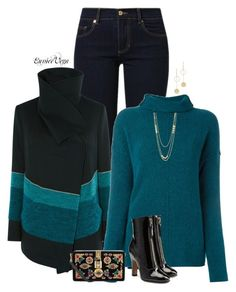 """""""JEANS ' JUMPERS"""" by eunice-perez-de-vega ❤ liked on Polyvore featuring Versace, Karen Millen, Forte Forte, Dolce&Gabbana, Gorjana, Cloverpost and Valentino"""