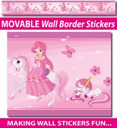 Smartwalling - Wall Stickers - Princess and unicorns Wall Border Stickers - Totally Movable, $18.99 (http://www.smartwalling.com.au/princess-and-unicorns-wall-border-stickers-totally-movable/)