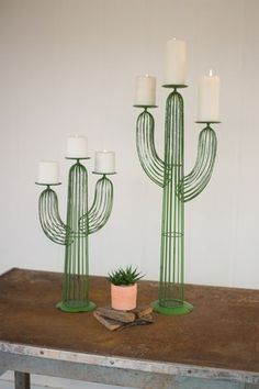 All Candle Holders - Kalalou Set of Two Wire Cactus Candle Holders The Effective Pictures We Offer You About Cactus room - Cactus Ceramic, Cactus Candles, Diy Home Decor, Room Decor, Romantic Candles, Cactus Decor, Cactus Cactus, Southwest Decor, Festa Party