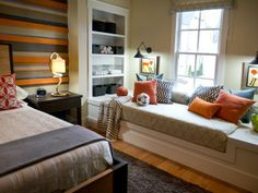"A custom-built window seat provides extra storage and style. ""The idea behind the daybed was to have more space for friends to hangout,"" says Linda Woodrum.  http://hg.tv/vb3i"