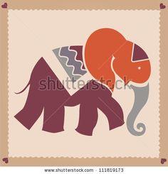stock vector : Orange elephant vector illustration
