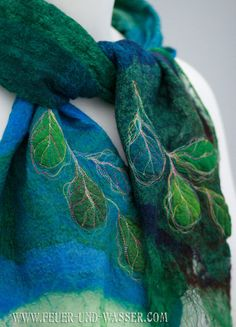 Nuno-felted scarf - extra fine merino wool and hand woven silk gauze - feather-lite and soft - Winter Leaves
