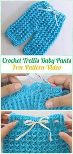 Crochet Trellis Baby Pants Free Pattern Video - Crochet Baby Pants Free Patterns