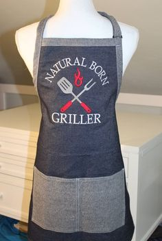 Grilling Apron on Raw Denim - Natural Born Griller - BBQ Apron -Barbecue Apron -Denim Apron -Mens Apron -Apron for Grilling -Gift for Dad Funny Aprons For Men, Cute Aprons, Work Aprons, Grill Apron, Bbq Apron, Forks Design, Diy Father's Day Gifts, Grilling Gifts, Sewing Aprons