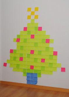Un árbol De Navidad Con Post It Christmas Tree And Santa