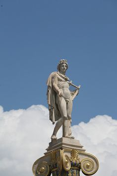 Apollo the Guitar Player, Sitting 23 meters high on Pillar, Academy of Athens, Greece Ancient Greek Sculpture, Greek Statues, Greek Gods And Goddesses, Greek And Roman Mythology, Apollo And Hyacinth, Apollo Mythology, Apollo Aesthetic, Apollo Statue, Greek Pantheon