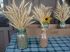 decoration ideas.  Nix the sunflower, keep the mason jars and wheat.