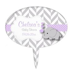 Lavender White and Gray Elephant Baby Shower Cake Topper - pattern sample design template diy cyo customize