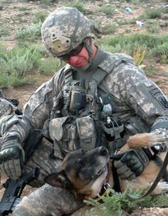 Commander of the 86th Infantry Brigade Combat Team Col. William Roy, U.S. Army, out of Jericho, Vt., pets a military working dog during an operation in Parwan province, Afghanistan, on May 11, 2010. U.S. Army soldiers of Alpha Troop, 1st Squadron, 172nd Cavalry Regiment, 86th Infantry Brigade Combat Team visited a remote village in Parwan province to conduct a key leader engagement with village elders.    DoD photo by Sgt. Jason Brace, U.S. Army. (Released