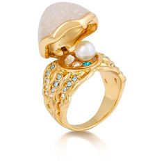 Disney Couture Little Mermaid Ariel Secret Pearl Ring ($95) ❤ liked on Polyvore featuring jewelry, rings, disney couture ring, disney couture, pearl jewellery, white pearl ring and pearl jewelry