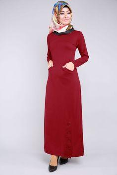 Düğme Yırtmaçlı Elbise Bordo Ürün kodu: BH2202 --> 59.90 TL