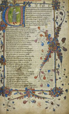 Canterbury Tales ~ This beautifully illustrated 14th-century manuscript edition of Geoffrey Chaucer's Canterbruy Tales features the author himself. Some scholars believe the illustration was painted by Hermann Scheerre. This illustration shows the opening to the Prologue.