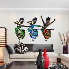 Style & Apply African Art Dancers Wall Decal Sticker Wall Sticker, Vinyl Wall Art, Home Decor, Wall Mural - Vinyl Wall Art, Wall Decal Sticker, Wall Stickers Murals, Wall Murals, African Living Rooms, African Bedroom, African Themed Living Room, Art Mural Africain, Style Afro