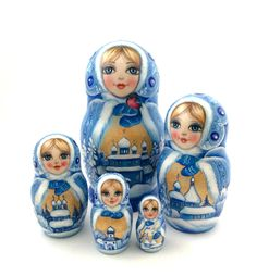 Unique Russian Hand Carved Hand Painted Nesting DOLL  Russian Winter  signed