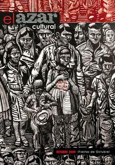 """Octubre. """"Guatemala niña"""" xilografía por Guillermo Maldonado para celebrar la primera y única edición de ¡Las fiestas de octubre!   Una promesa truncada. http://www.elazarcultural.blogspot.com/2009/09/fiestas-de-octubre.html"""