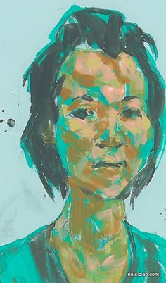 Asian Woman on Green, by Jeff Wrench. Acrylic on paint chip.