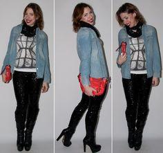 Luta do Dia: o passo-a-passo do look do dia com calça de paetês, camisa jeans e bota no blog de moda