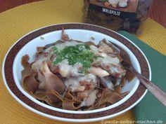 Pilznudeln mit Austernpilzen und Gorgonzola