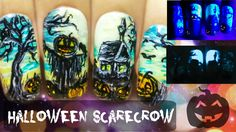 Halloween Scarecrow ⎮ Glow in the Dark Freehand Nail Art VideoTutorial
