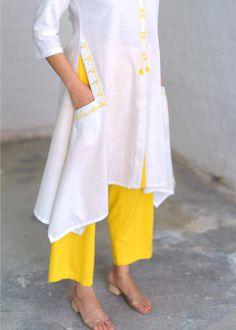 Ivory & Canary Yellow Handwoven Khadi Kurta with Abla & Handwork Silk Kurti Designs, Kurta Designs Women, Kurti Designs Party Wear, Pakistani Fashion Casual, Pakistani Dress Design, Khadi Kurta, Fancy Kurti, Kurti Embroidery Design, Kurta Neck Design