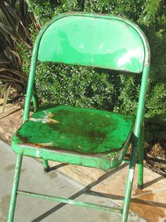 Vintage Green Shabby Chic Metal Industrial Chair