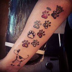 paw print tattoos! Sammy, Daisy, Osbourne, Bailey, Charlie, Maddy and Gracie! That's going to be a big tattoo!