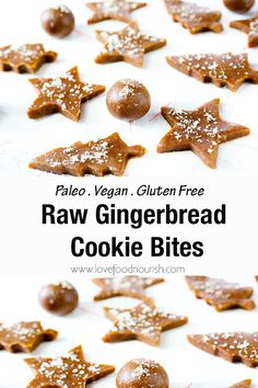 Nutritious Snack Tips For Equally Young Ones And Adults You Will Love These Easy To Make Raw Gingerbread Cookie Bites If You Are A Fan Of Gingerbread Or Anything Ginger You Will Love These Paleo Cookie Bites And Will Be Reaching For Another One Perfect As Raw Dessert Recipes, Paleo Recipes Easy, Raw Vegan Recipes, Gluten Free Desserts, Paleo Vegan, Vegan Desserts, Freezer Recipes, Freezer Cooking, Vegan Baking