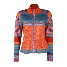 Icelandic Design Chloe  Make a statement in this jacket. Oh man. Stunning colors. Jacquard-like patterning. Knitted in a fine weight yarn.