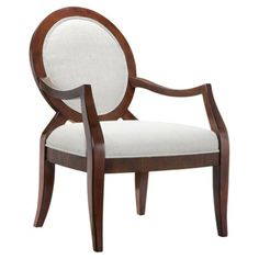 Showcasing a chic round back and mahogany finish, this off-white upholstered wood arm chair brings classic elegance to your living room or den.