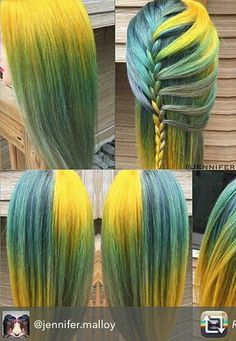 Neon yellow blue dyed hair