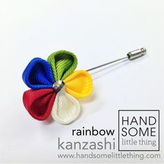 Handmade lapel pins by Handsomelittlething. Visit www.handsomelittlething.com for more design Little Things, Lapel Pins, Rainbow, Handmade, Design, Rain Bow, Rainbows, Hand Made