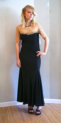 30's Gown// Vintage 1930's Silk and Lace Femme by xtabayvintage, $398.00