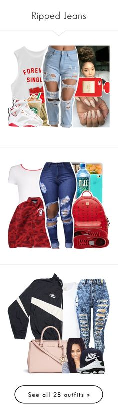 """Ripped Jeans"" by uniquee-beauty ❤ liked on Polyvore featuring Hershey's, Retrò, MCM, Boohoo, Puma, Max 'n Chester, NIKE, Michael Kors, adidas and Topshop"