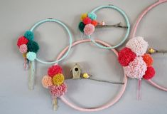 Hoop display for Be Crafty workshop. Pom Poms and bird houses.