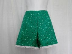 Junior/Teen  Shorts from Vintage Pattern Green Floral