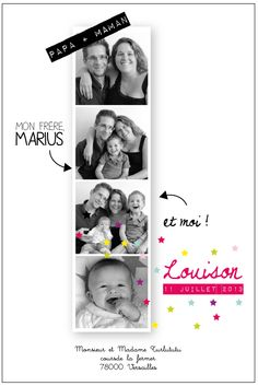 Faire part collection pétillante - photomaton - invitation email Faire Part Invitation, Baby Co, Foto Baby, Baby Wedding, Baby Scrapbook, First Baby, Baby Cards, Kids And Parenting, Baby Photos