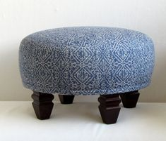 TUFFET in blue ikat upholstered by yiayias on Etsy