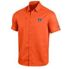 Men's Under Armour Orange Auburn Tigers Sideline Woven Performance Button-Up Shirt