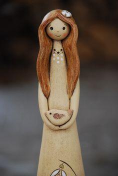Víla z keramiky - jarní - sněženková / Zboží prodejce malina11 | Fler.cz Clay Projects, Clay Crafts, Pottery Angels, Handmade Angels, Ceramic Angels, Felt Quiet Books, Fused Glass Art, Shape And Form, Bottle Art