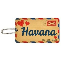 Air Mail Postcard Love for Havana Wood ID Card Luggage Tag, Brown