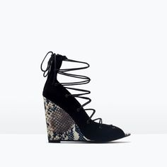 LACE-UP PRINTED LEATHER WEDGE-Wedges-Shoes-WOMAN-SALE | ZARA United Kingdom