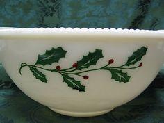 Vintage McKee Milk Glass Holly Punch Bowl~~