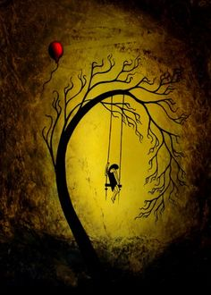 Sad Fantasy Art Tree Print - Heartache and Poetry 40... by Jaime Best