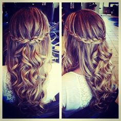 Start with curled (I recommend naturally curled!) hair, then make a waterfall braid crown.