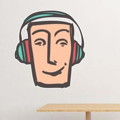 Headset Abstract Face Sketch Emoticons Online Chat Removable Wall Sticker Art Decals Mural DIY Wallpaper for Room Decal Face Sketch, Abstract Faces, Diy Wallpaper, Removable Wall Stickers, Wall Decor, Wall Art, Emoticon, Headset, Decals