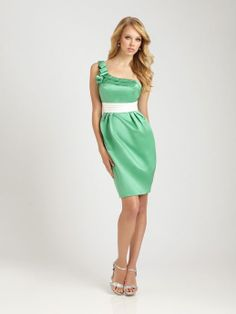 One shoulder satin bridesmaid dress with empire waist