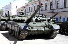 Russian T-72B3 main battle tanks